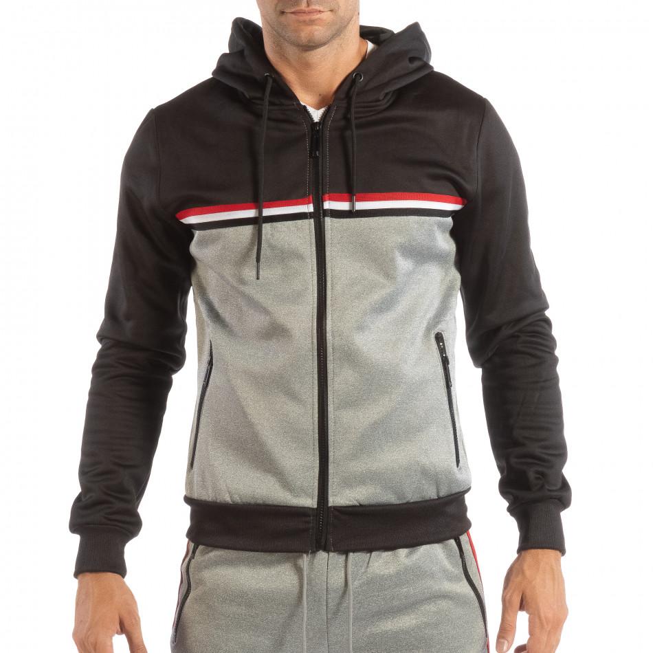 Hanorac în gri-negru 3 striped pentru bărbați it240818-109