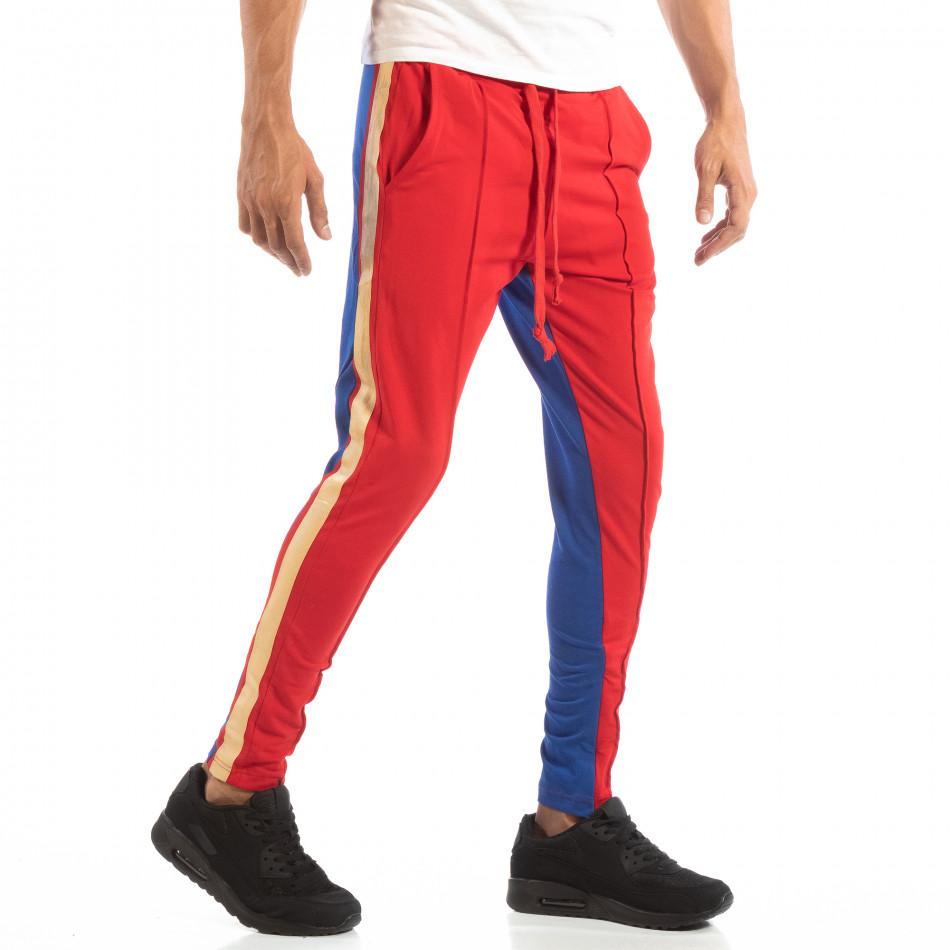 Jogger pentru bărbați în roșu și albastru cu benzi și fermoare it240818-102