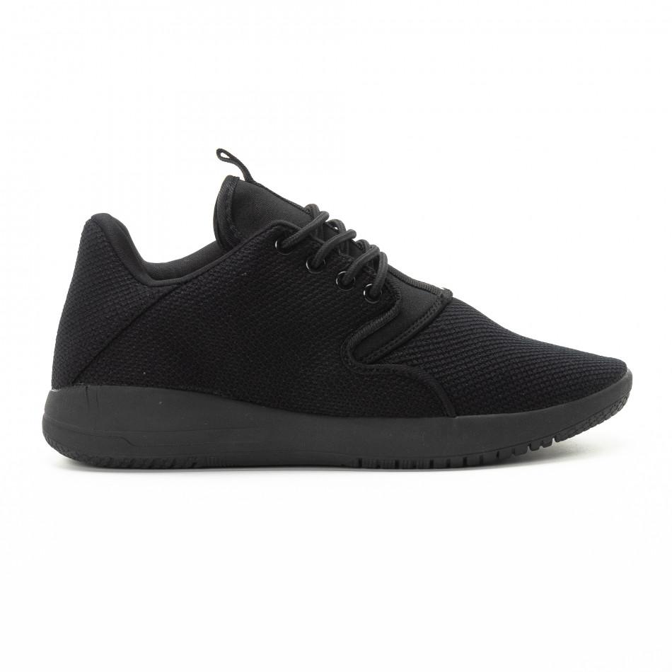 Adidași pentru bărbați din țesătură neagră model ușor it301118-4