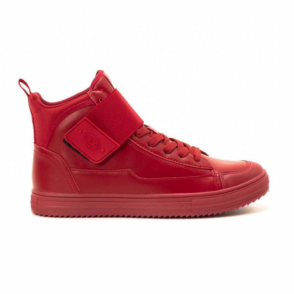 Teniși înalți roșii cu șireturi pentru bărbați it140918-7