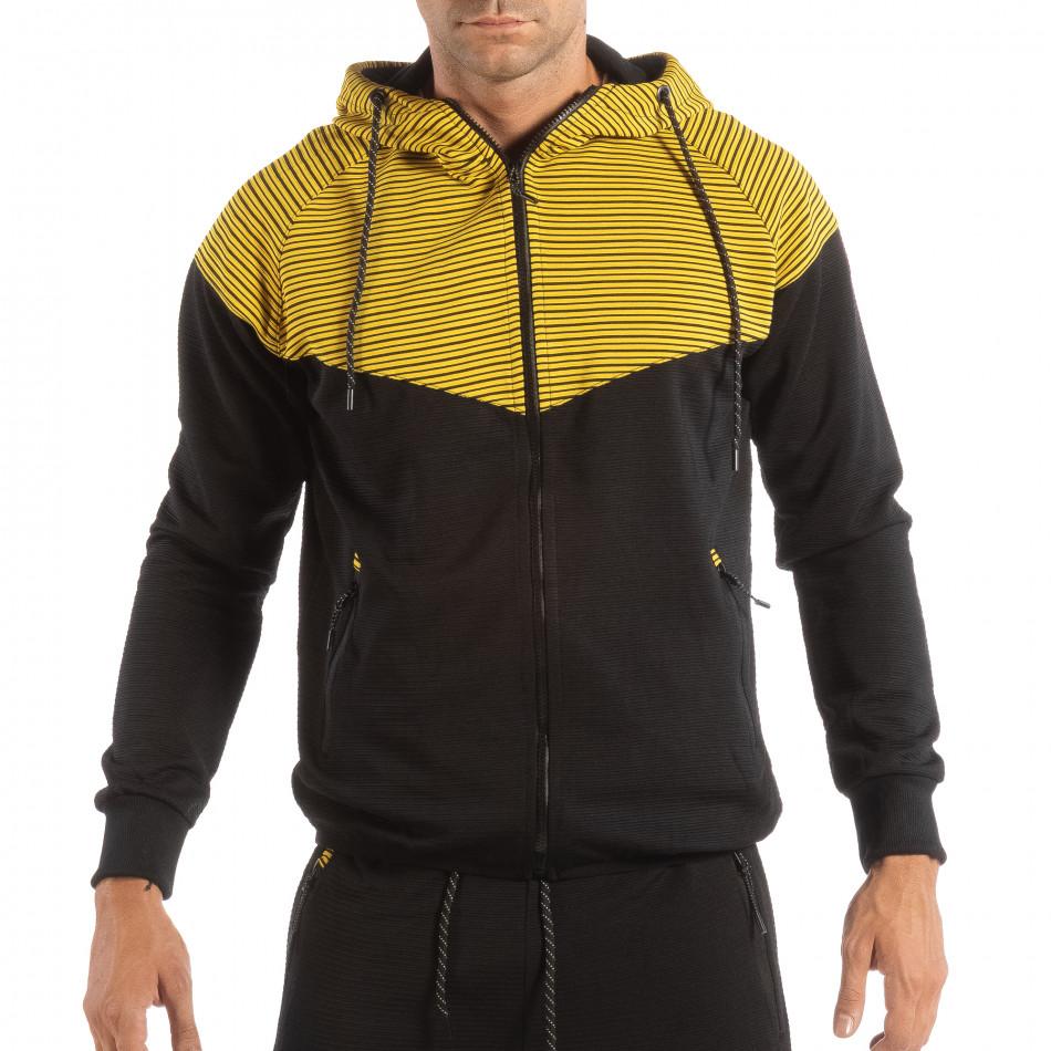 Hanorac pentru bărbați negru cu glugă galbenă it240818-119