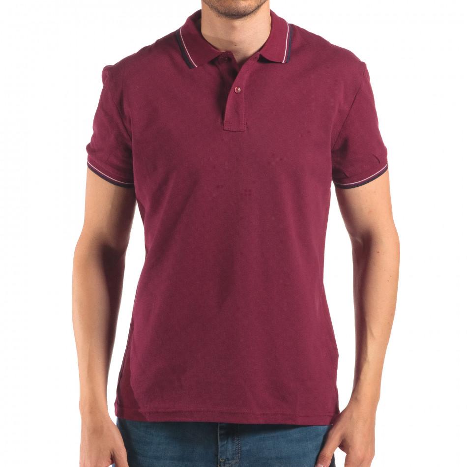 Tricou cu guler bărbați Bruno Leoni roșu it150616-35