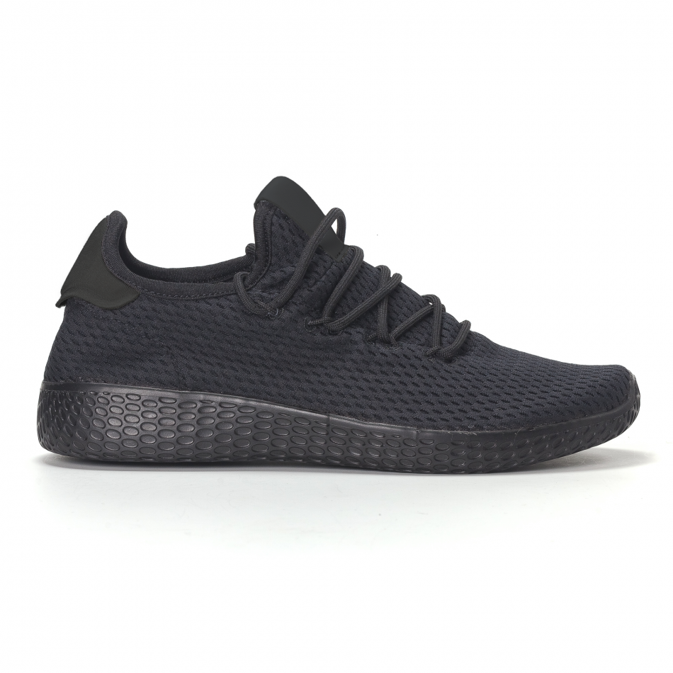 Adidași de bărbați negri All-black cu talpa ușoara it240418-31