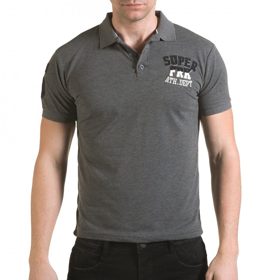 Tricou cu guler bărbați Franklin gri il170216-23
