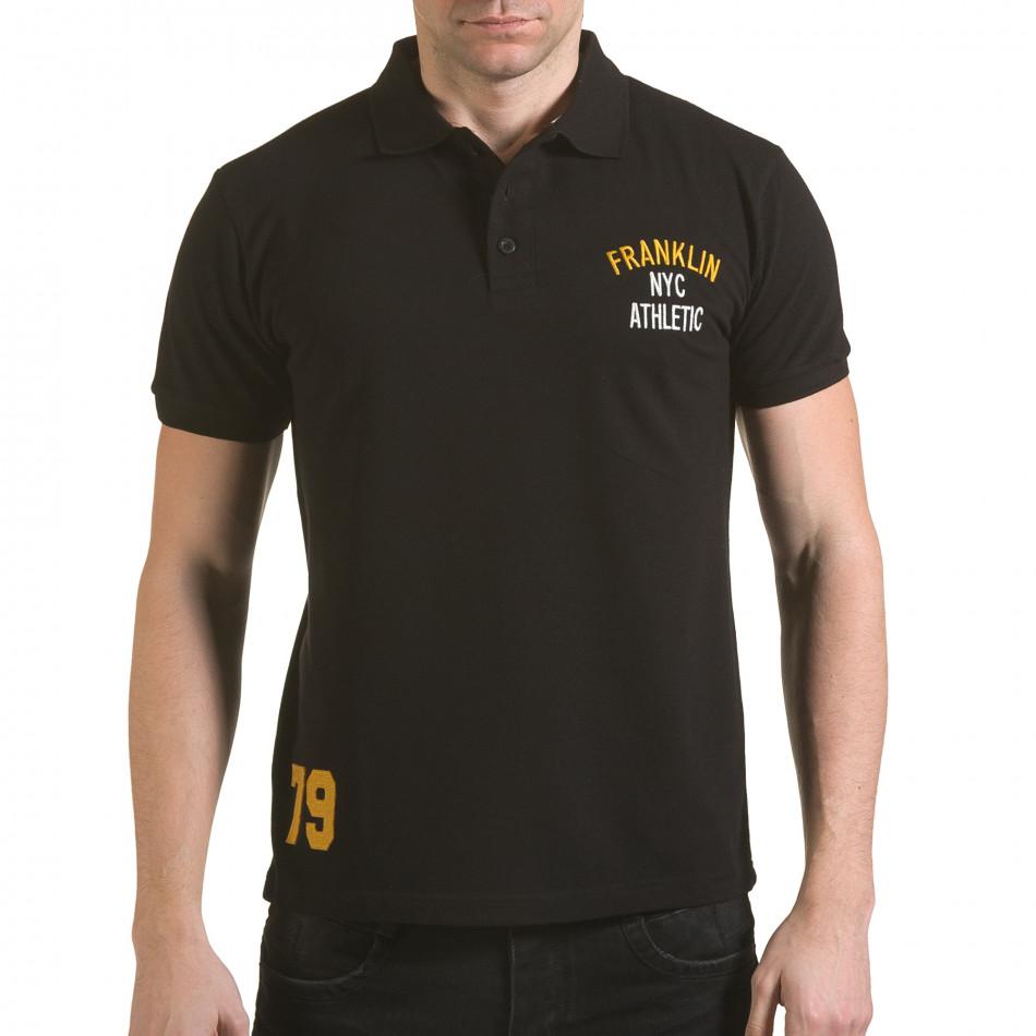 Tricou cu guler bărbați Franklin negru il170216-34