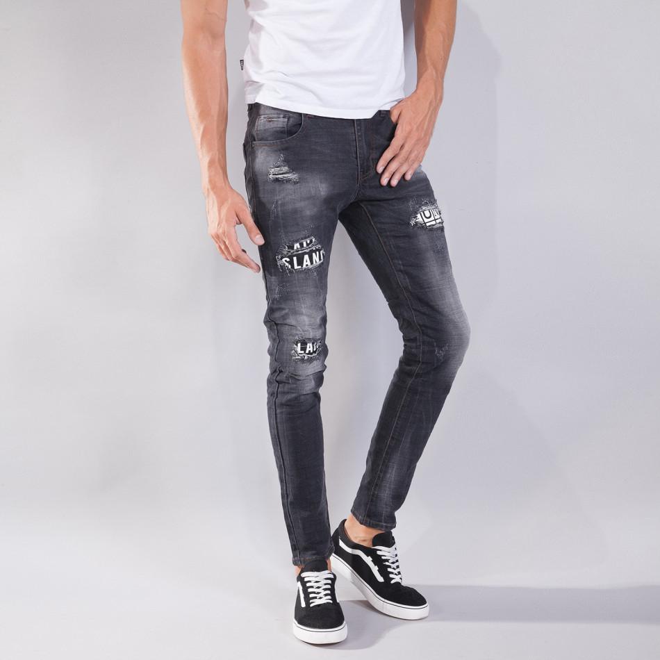 Blugi pentru bărbați în negru cu efect decolorat si patch-uri it240818-31