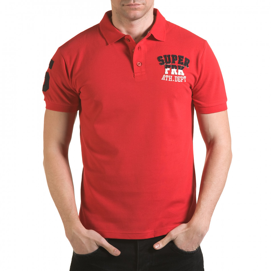 Tricou cu guler bărbați Franklin roșu il170216-24