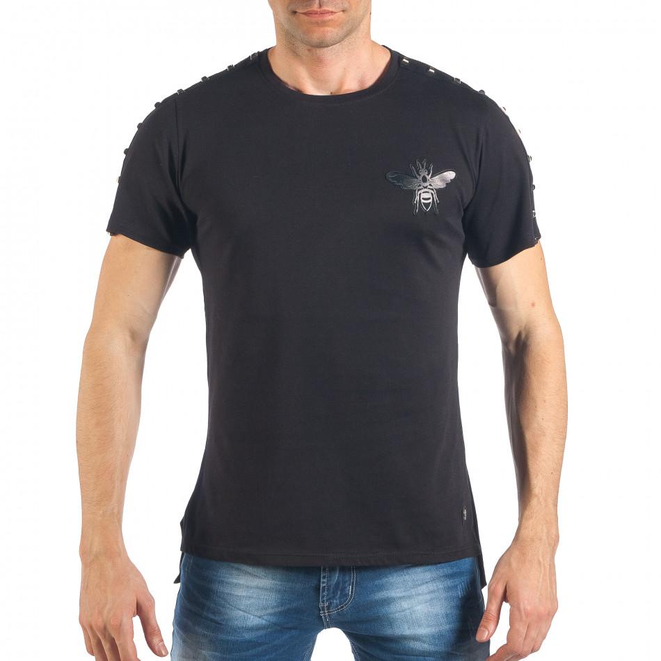 Tricou de bărbați negru cu aplicație și ținte it260318-186
