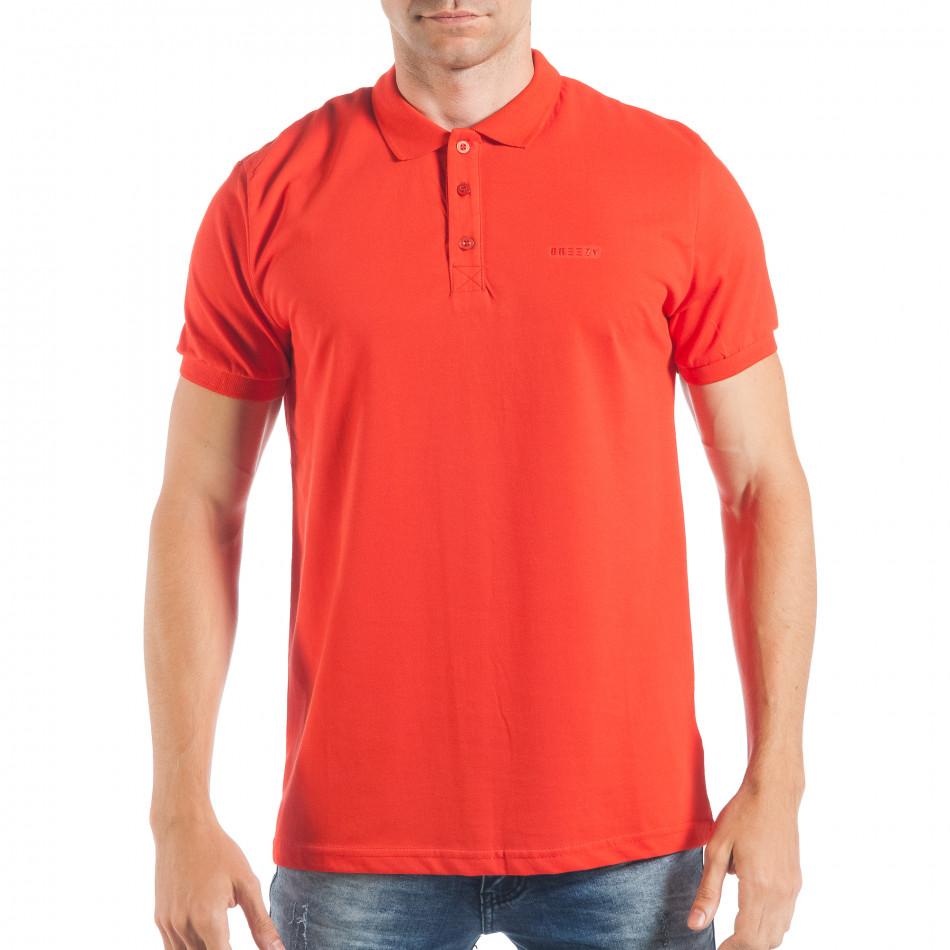 Tricou cu guler roșu basic pentru bărbați  tsf250518-33
