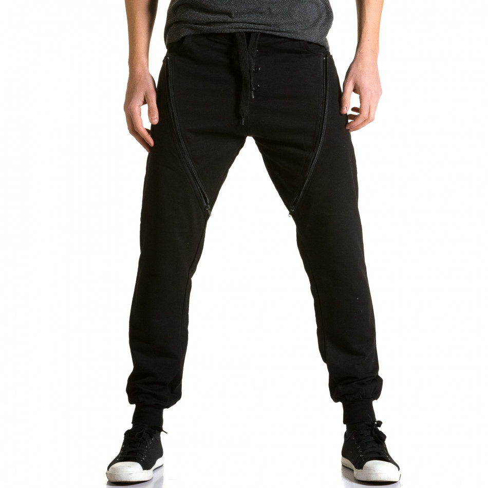 Pantaloni baggy bărbați DelPiero negri ca190116-25