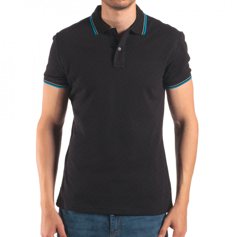 Tricou cu guler bărbați Bruno Leoni negru it150616-34
