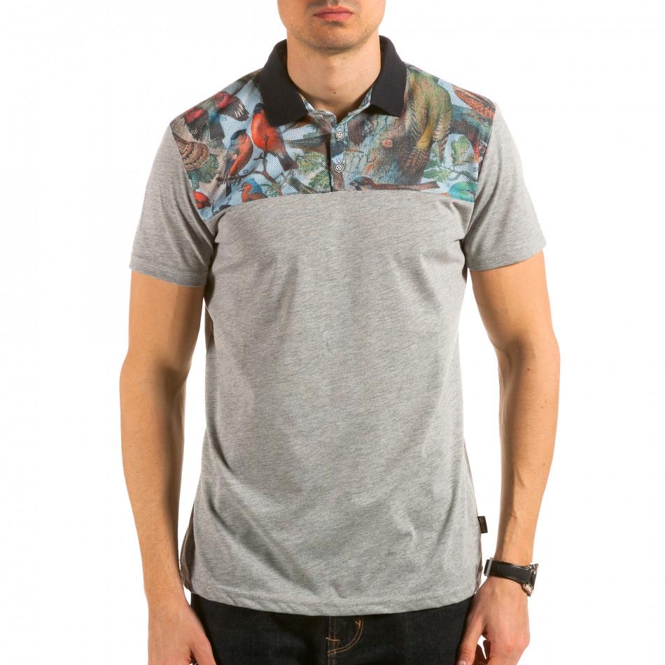 Tricou cu guler bărbați Catch gri il180215-102