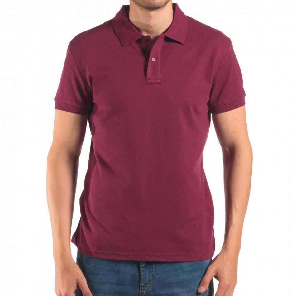Tricou cu guler bărbați Bruno Leoni roșu it150616-37