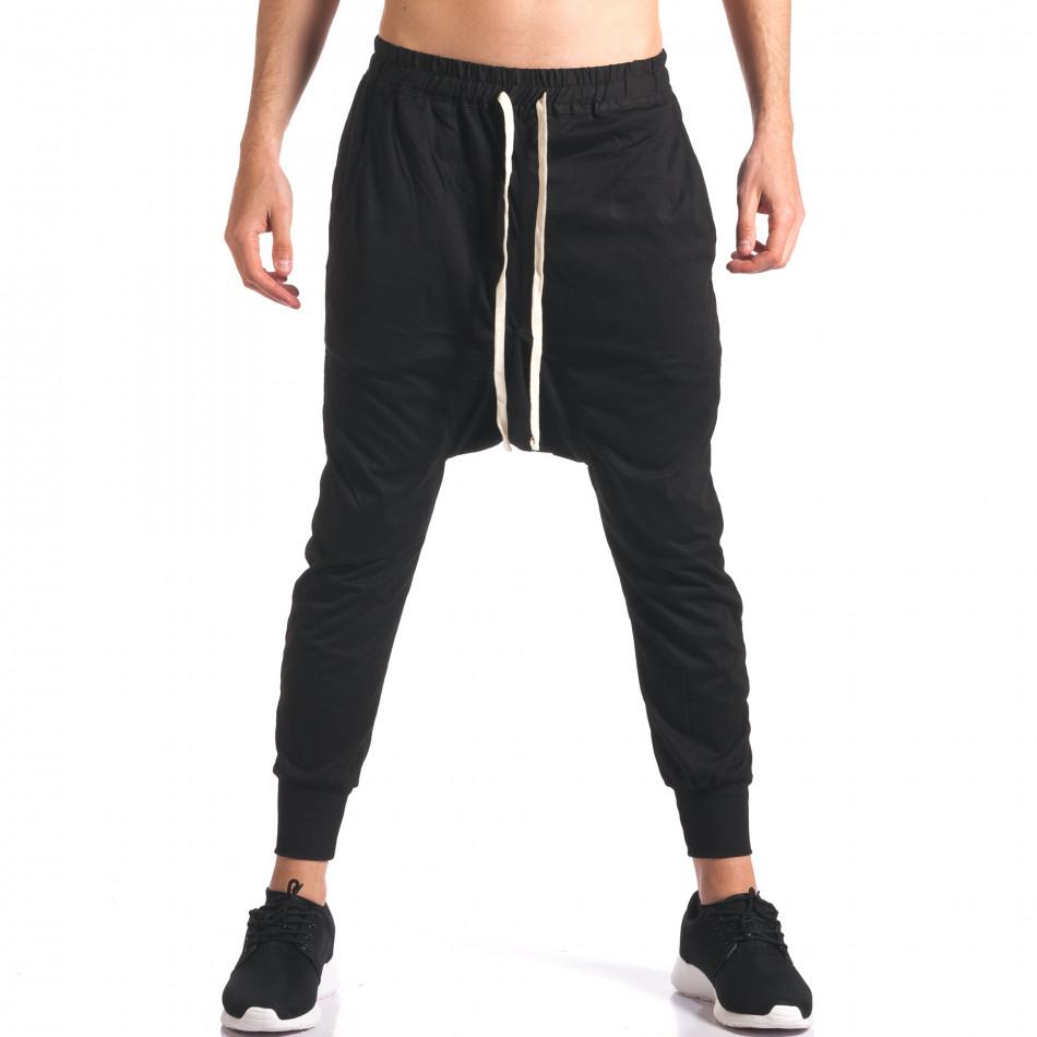 Pantaloni baggy bărbați Hancity negri it250416-6