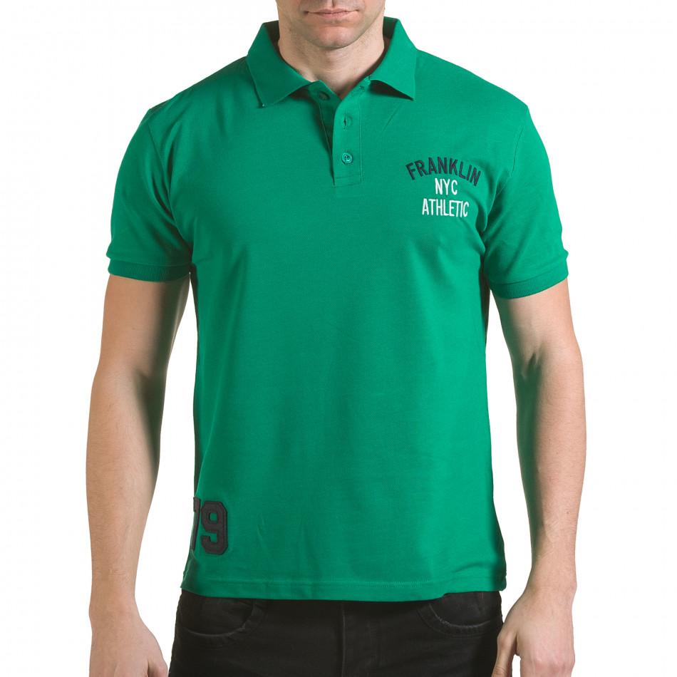 Tricou cu guler bărbați Franklin verde il170216-32