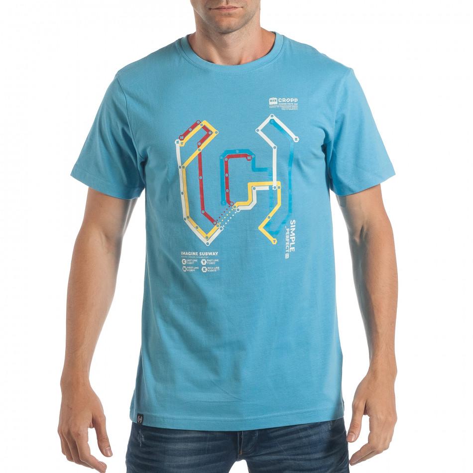 Tricou bărbați CROPP albastru lp180717-204