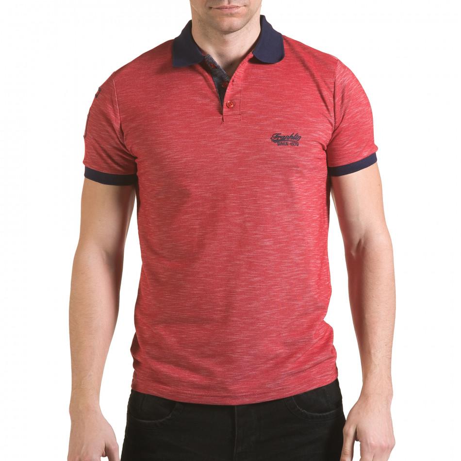 Tricou cu guler bărbați Franklin roșu il170216-37