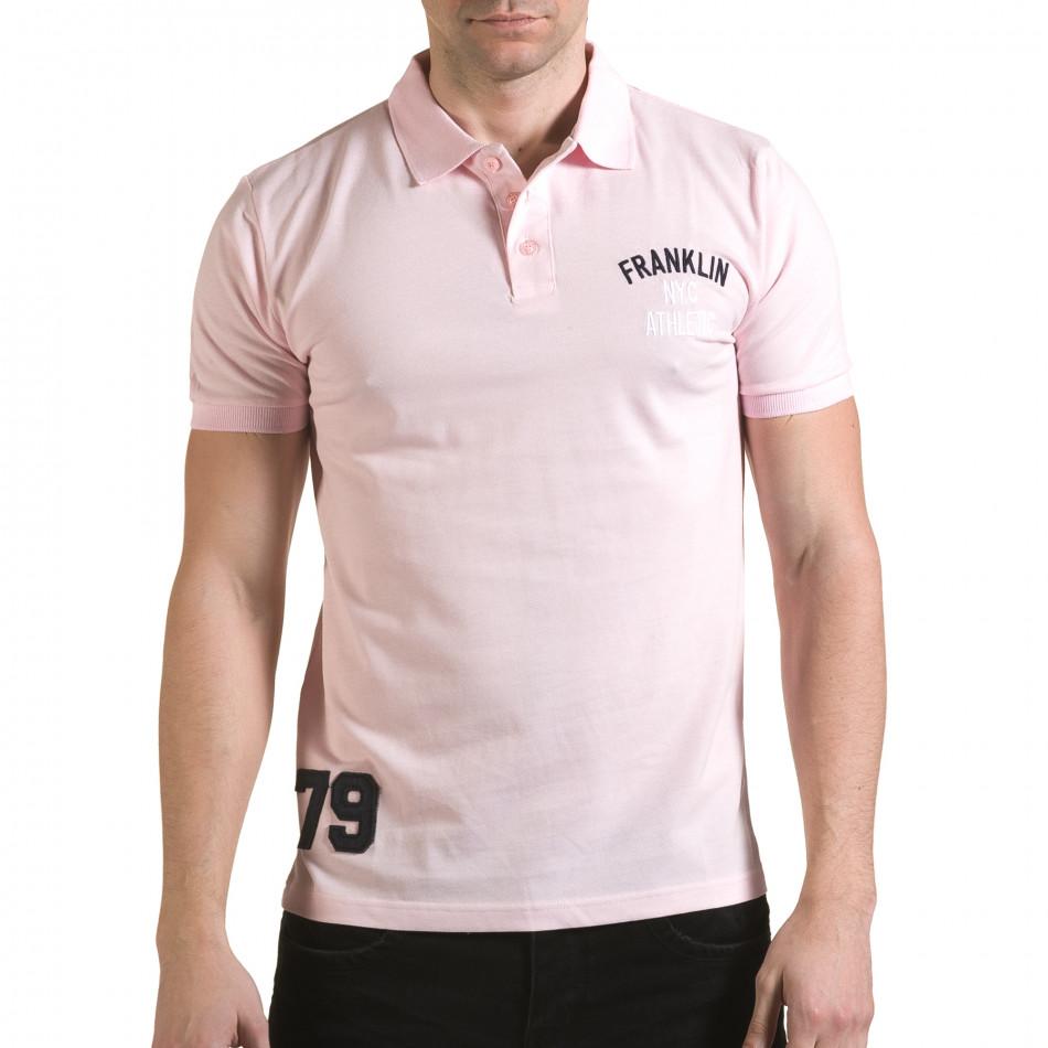 Tricou cu guler bărbați Franklin roz il170216-36