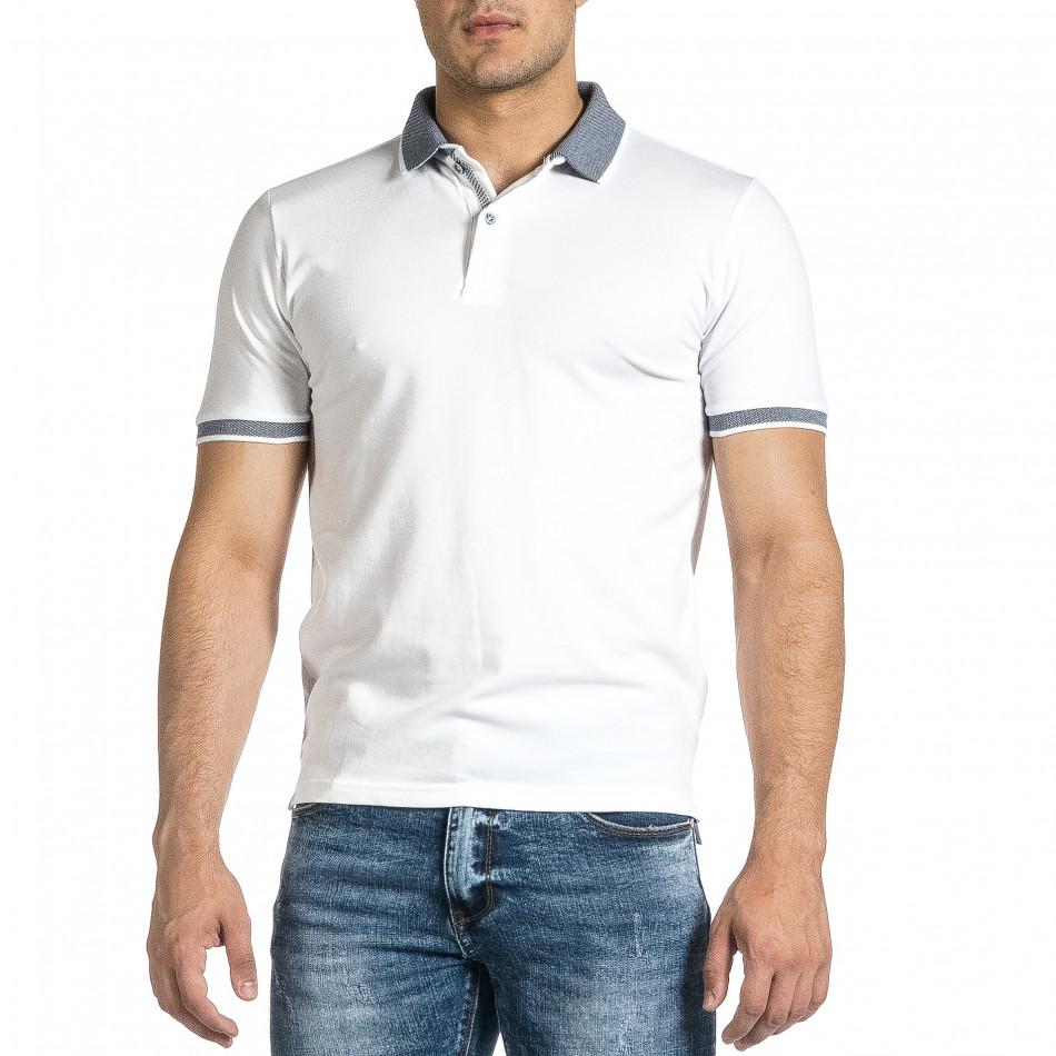 Tricou cu guler bărbați Baker's alb it150521-14