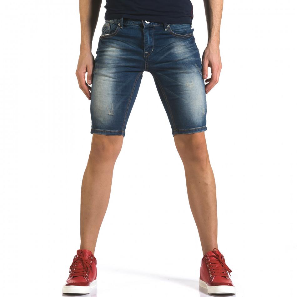Blugi scurți bărbați Flex Style albaștri it110316-61