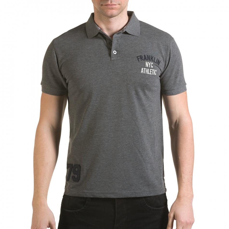 Tricou cu guler bărbați Franklin gri il170216-30