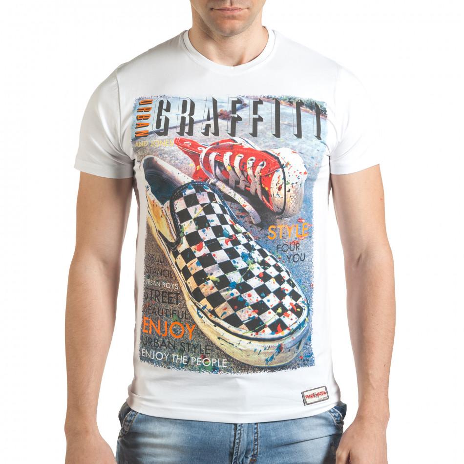 Tricou bărbați Frank Martin alb tsf140416-71