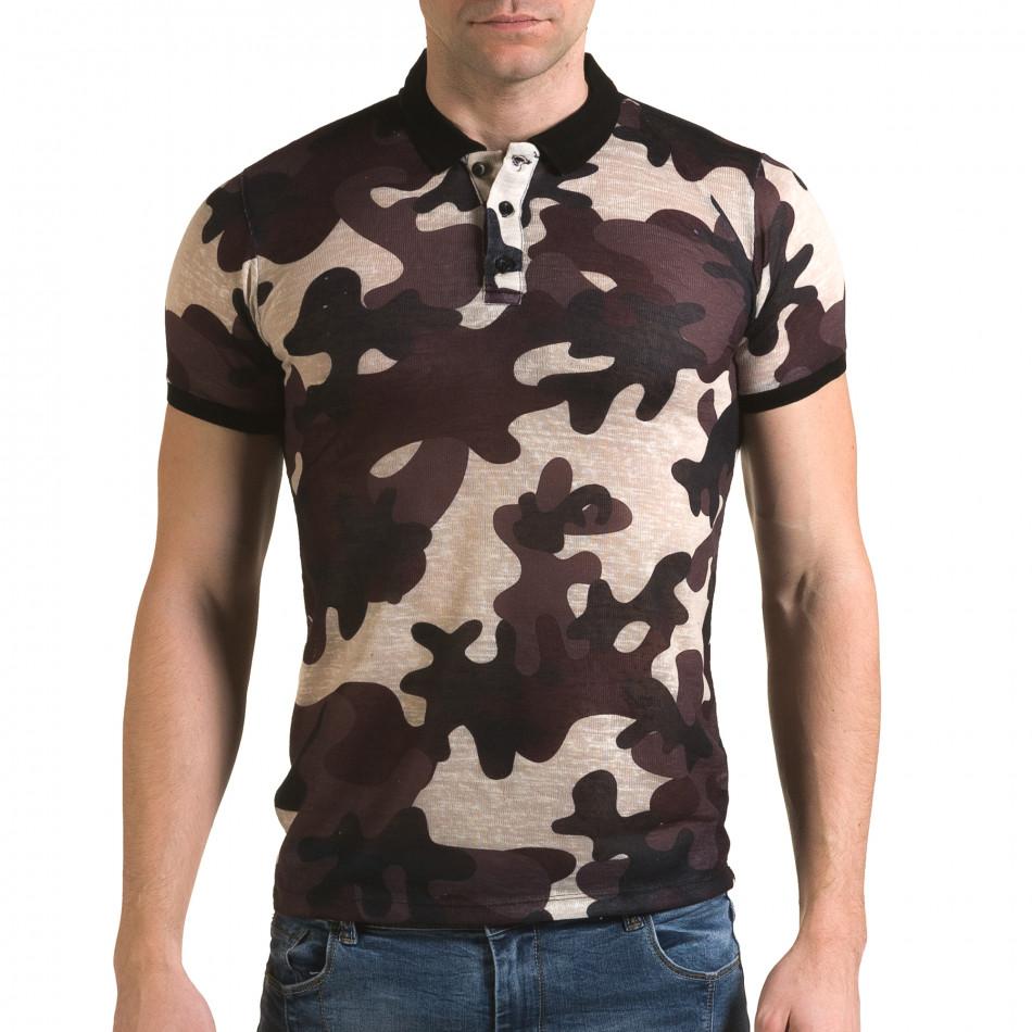 Tricou cu guler bărbați Lagos camuflaj il120216-21
