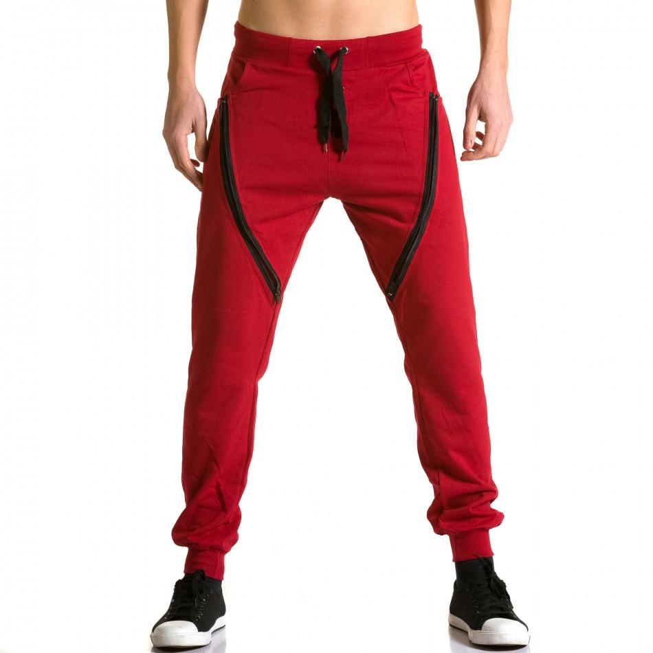 Pantaloni baggy bărbați DelPiero roșii ca190116-24