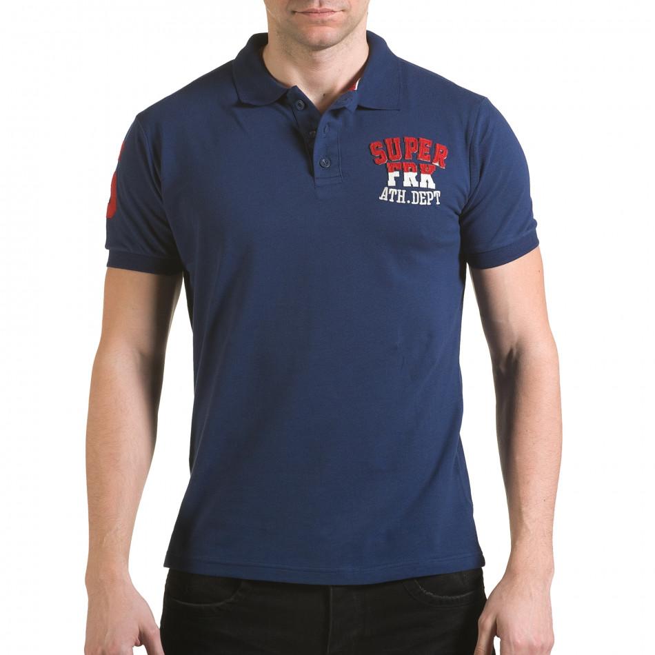 Tricou cu guler bărbați Franklin albastru il170216-28