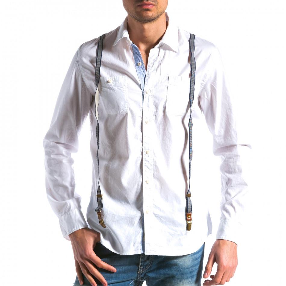Cămașă cu mânecă lungă bărbați Bread & Buttons albă tsf100214-9