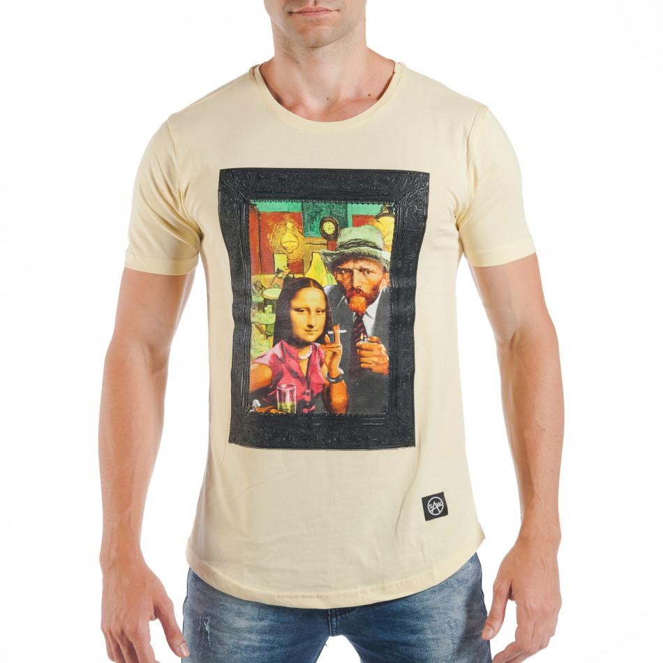 Tricou galben pentru bărbați cu imprimeu pop-art tsf250518-12