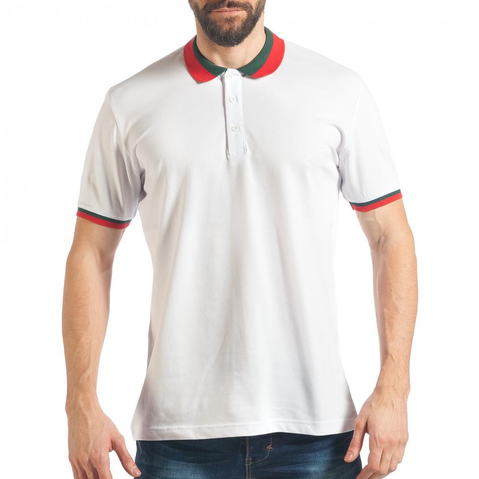 Tricou cu guler bărbați Black Island alb tsf020218-61