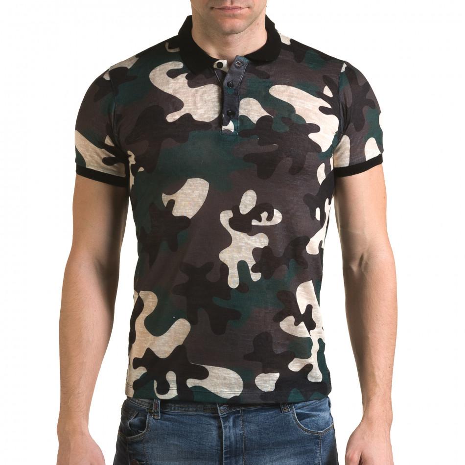 Tricou cu guler bărbați Lagos camuflaj il120216-20