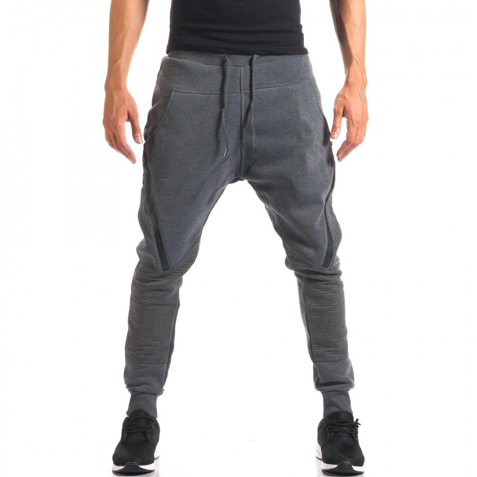 Pantaloni baggy bărbați Top Star gri it160816-2