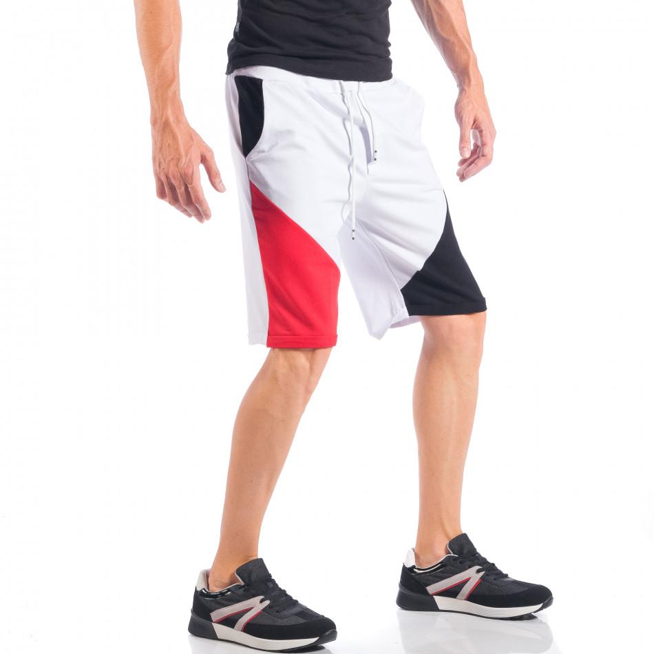 Pantaloni scurți pentru bărbați albi cu părți negre și roșii it050618-41