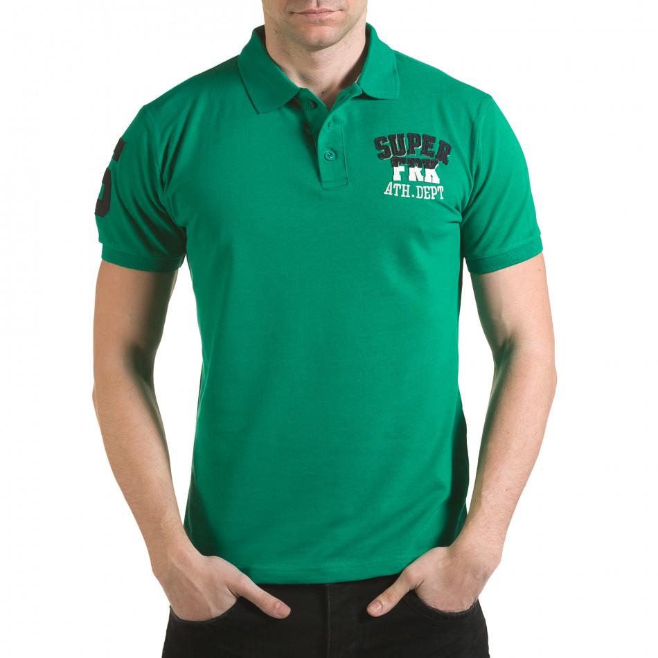 Tricou cu guler bărbați Franklin verde il170216-26