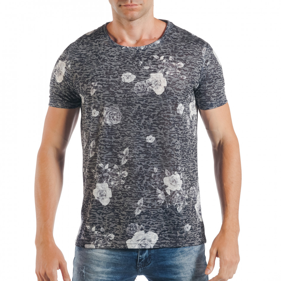 Tricou de bărbați gri cu trandafiri albi tsf250518-55