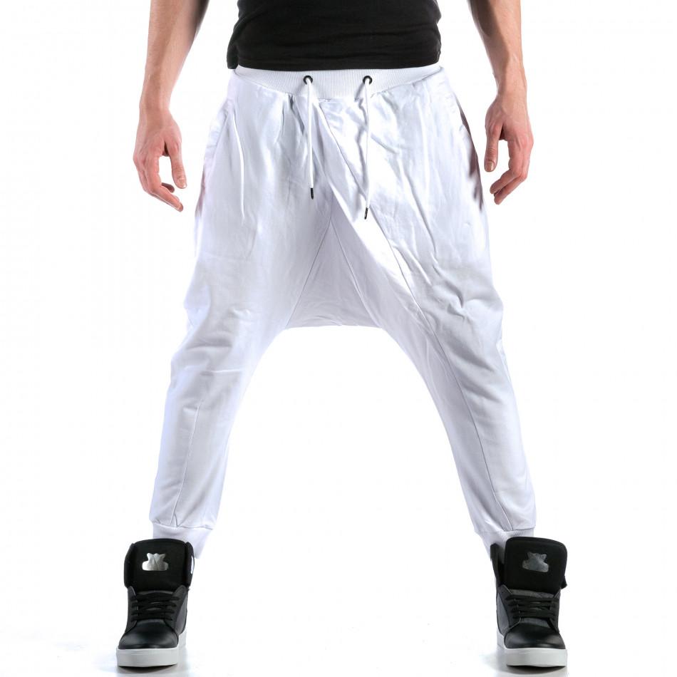Pantaloni baggy bărbați Bruno Leoni albi ca110215-15