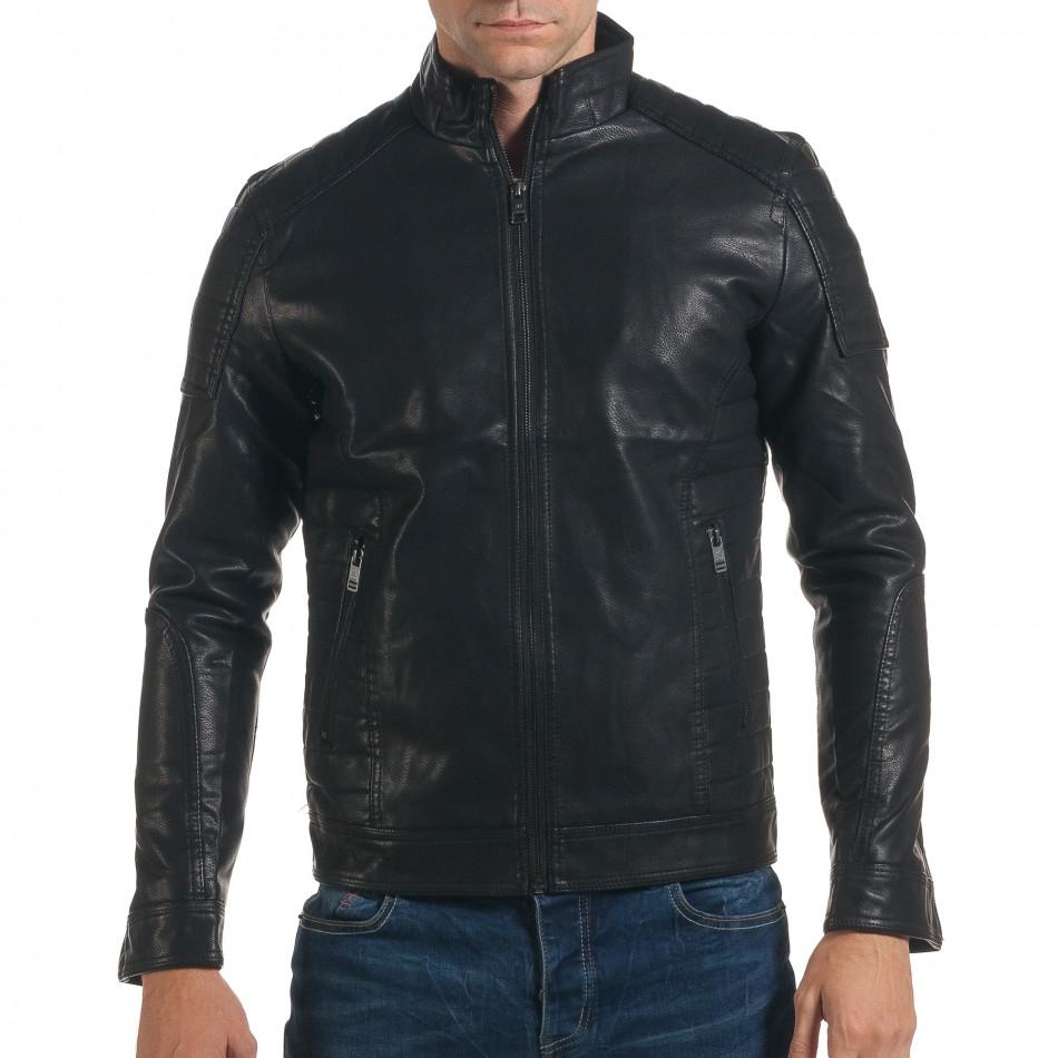 Geacă din piele ecologica bărbați Justboy neagră it191016-87