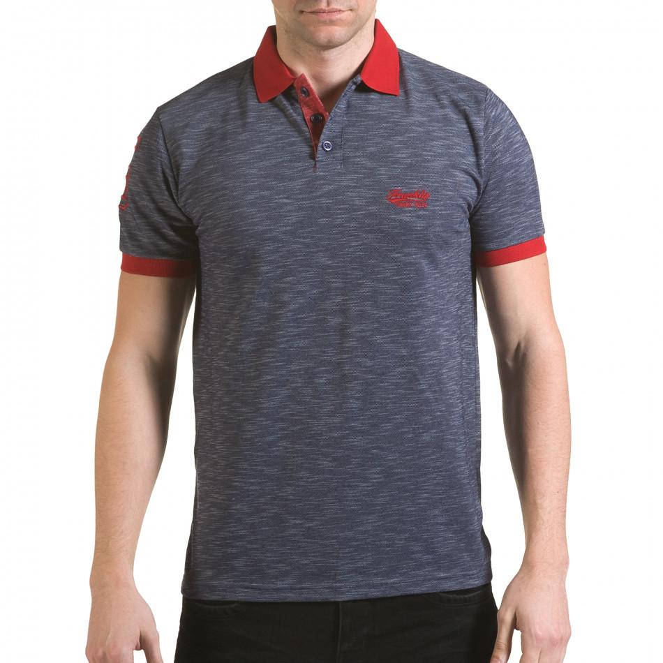Tricou cu guler bărbați Franklin albastru il170216-38