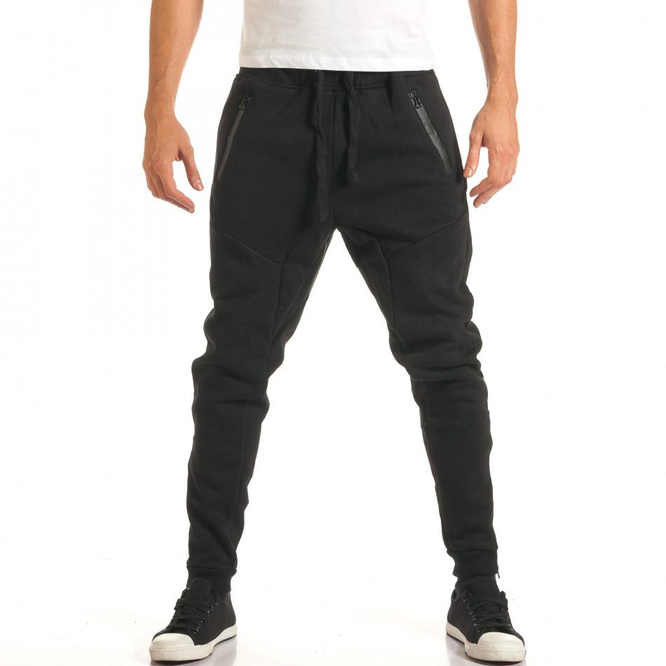 Pantaloni baggy bărbați Bread & Buttons negri it191016-12
