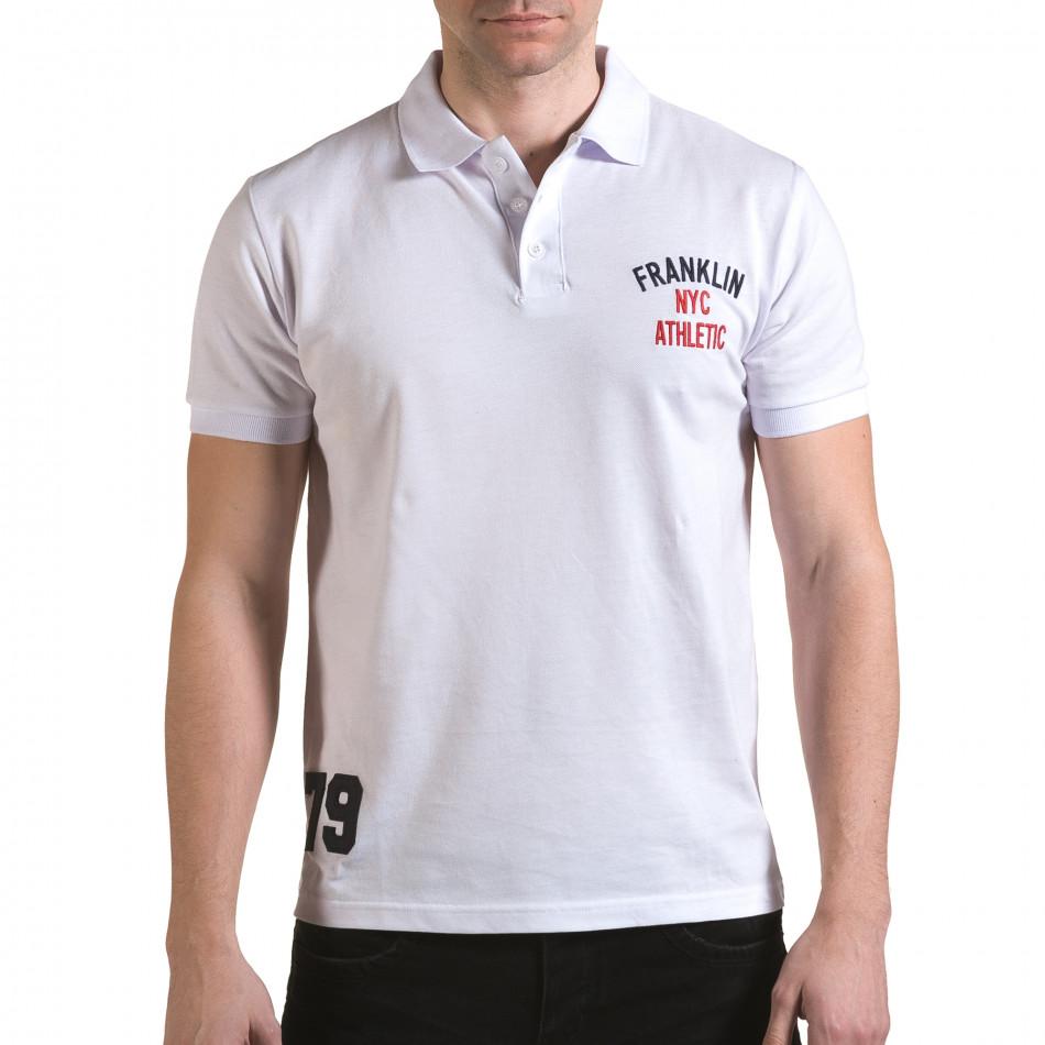 Tricou cu guler bărbați Franklin alb il170216-31