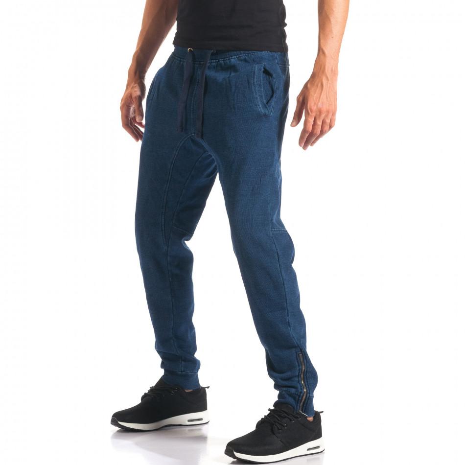 Pantaloni baggy bărbați Bread & Buttons albaștri it160816-35