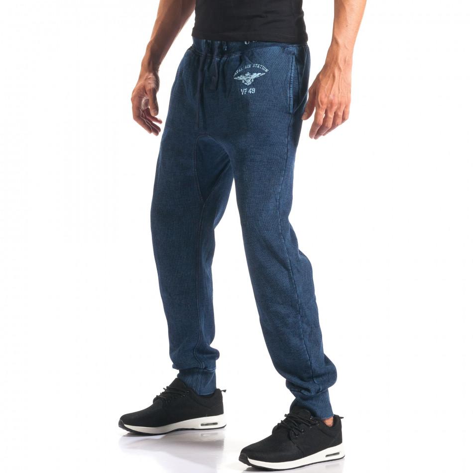 Pantaloni baggy bărbați Bread & Buttons albaștri it160816-34