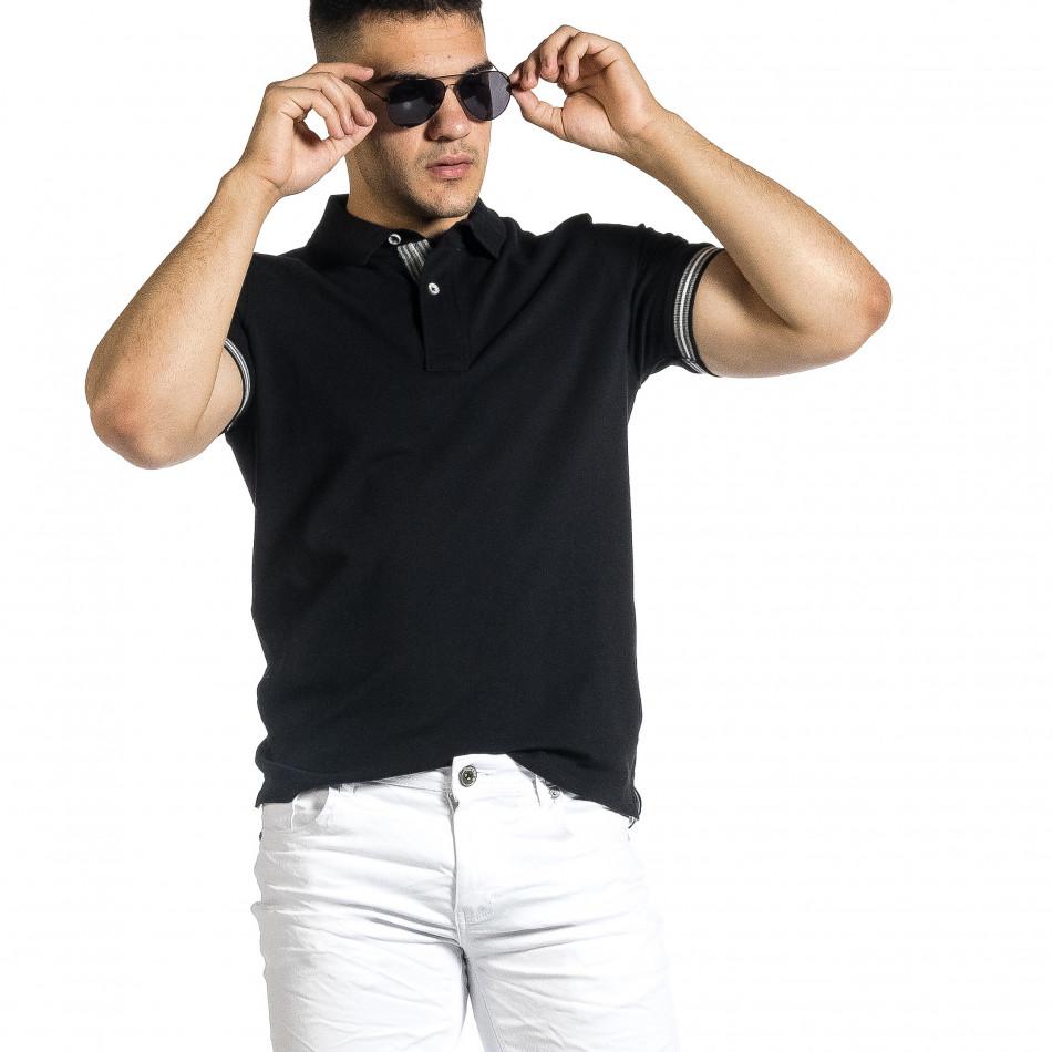 Tricou cu guler bărbați Baker's negru it150521-18