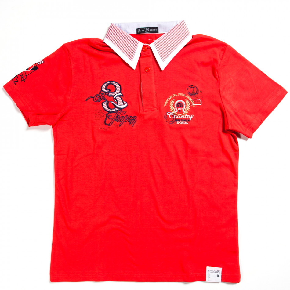 Tricou cu guler bărbați X-Name roșu 140313-28