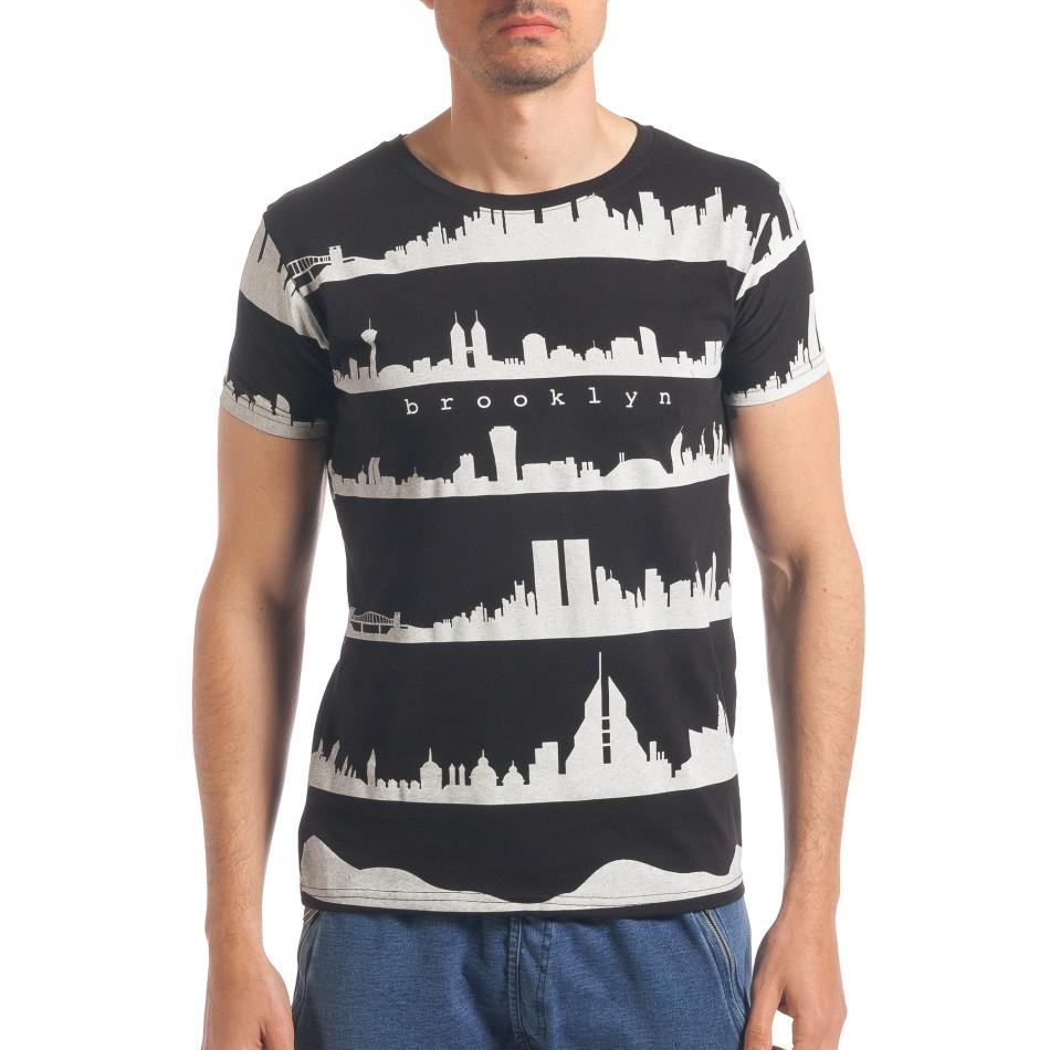 Tricou bărbați Italian Lab negru it190417-95