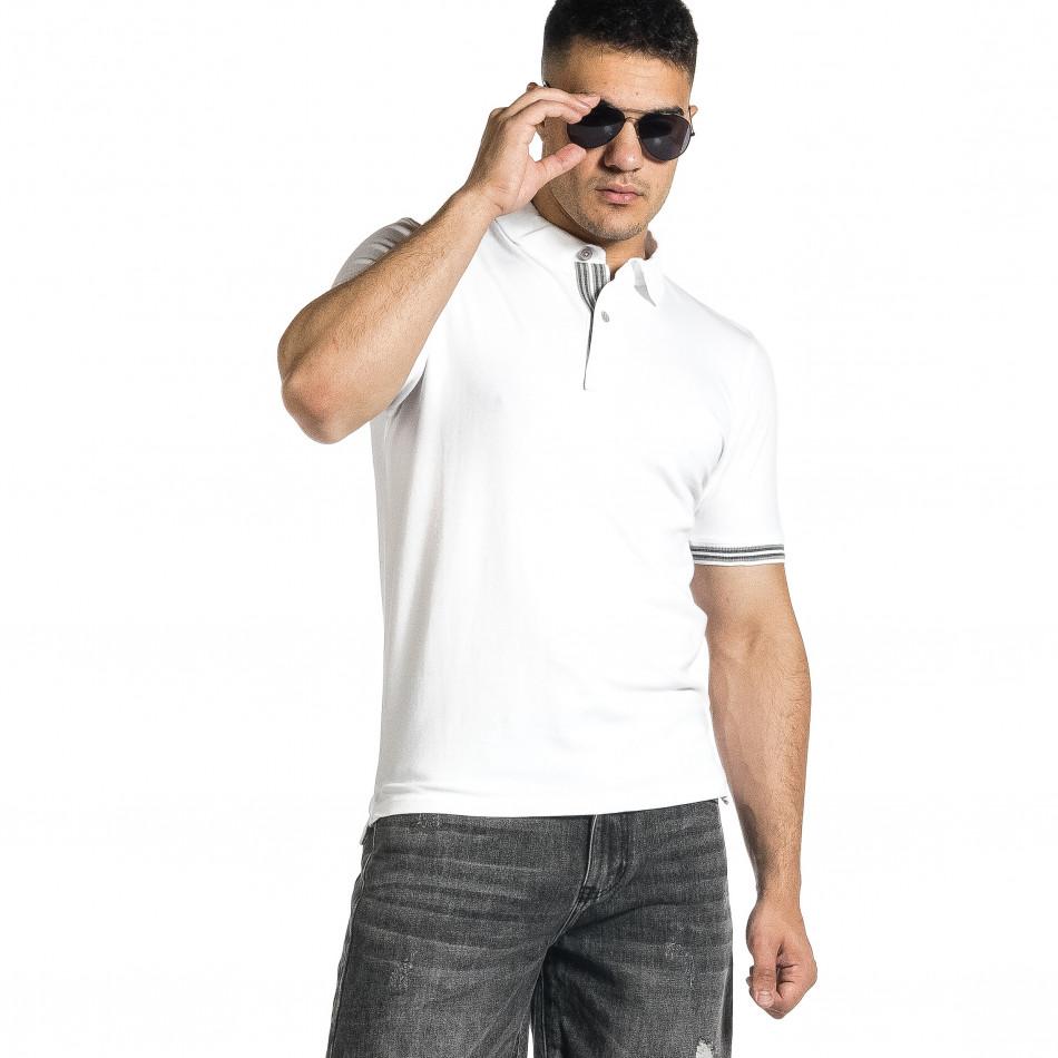 Tricou cu guler bărbați Baker's alb it150521-19