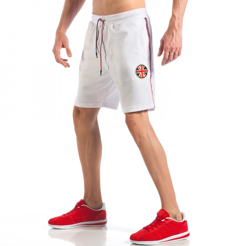 Pantaloni scurți de bărbați albi cu aplicație Drapelul britanic it110418-24