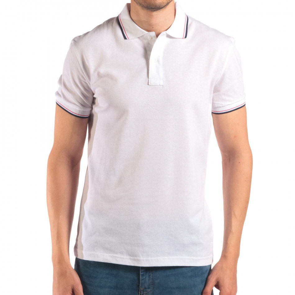 Tricou cu guler bărbați Bruno Leoni alb it150616-31